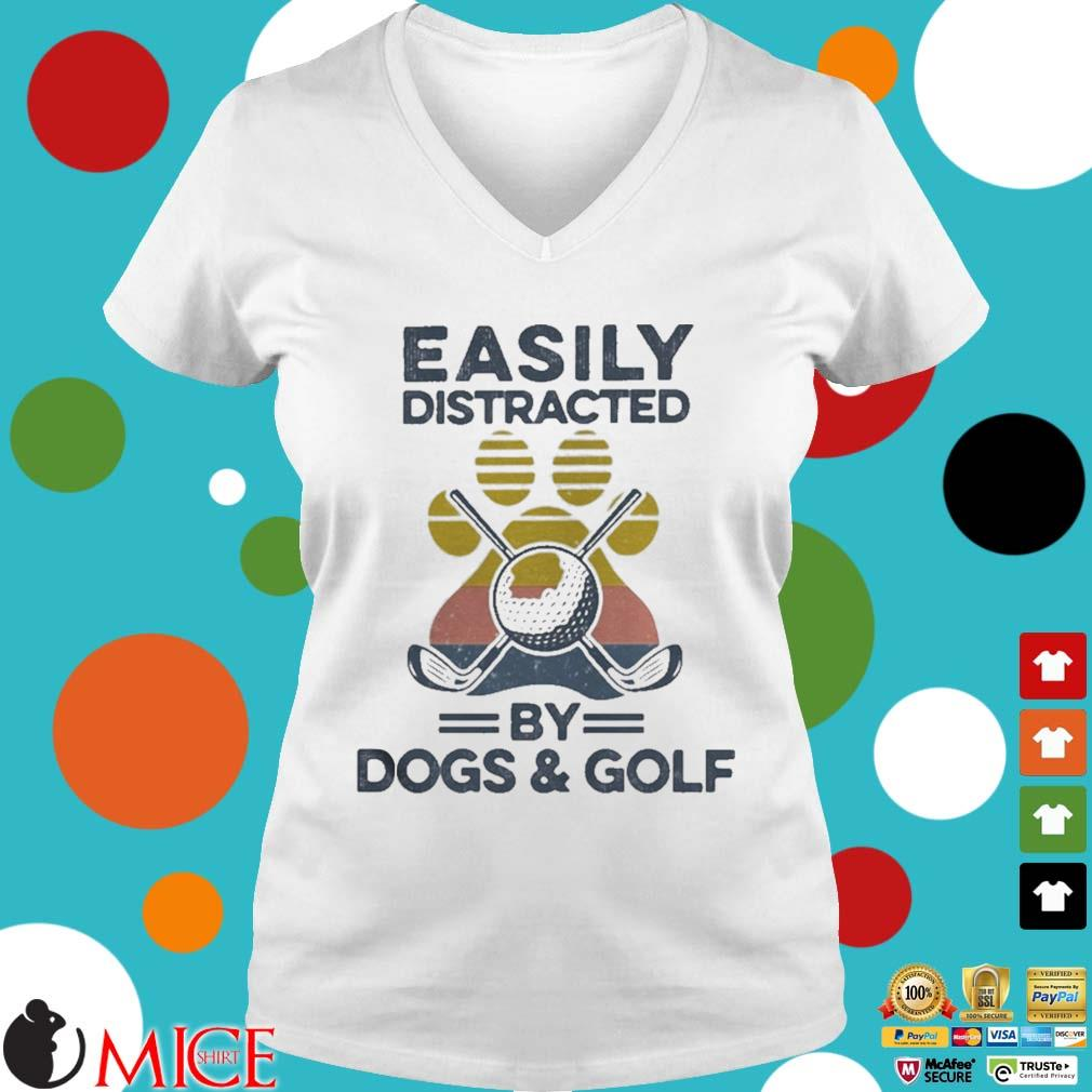 Easily Distracted By Dogs And Golf Footprint Vintage Shirt t Ladies V-Neck