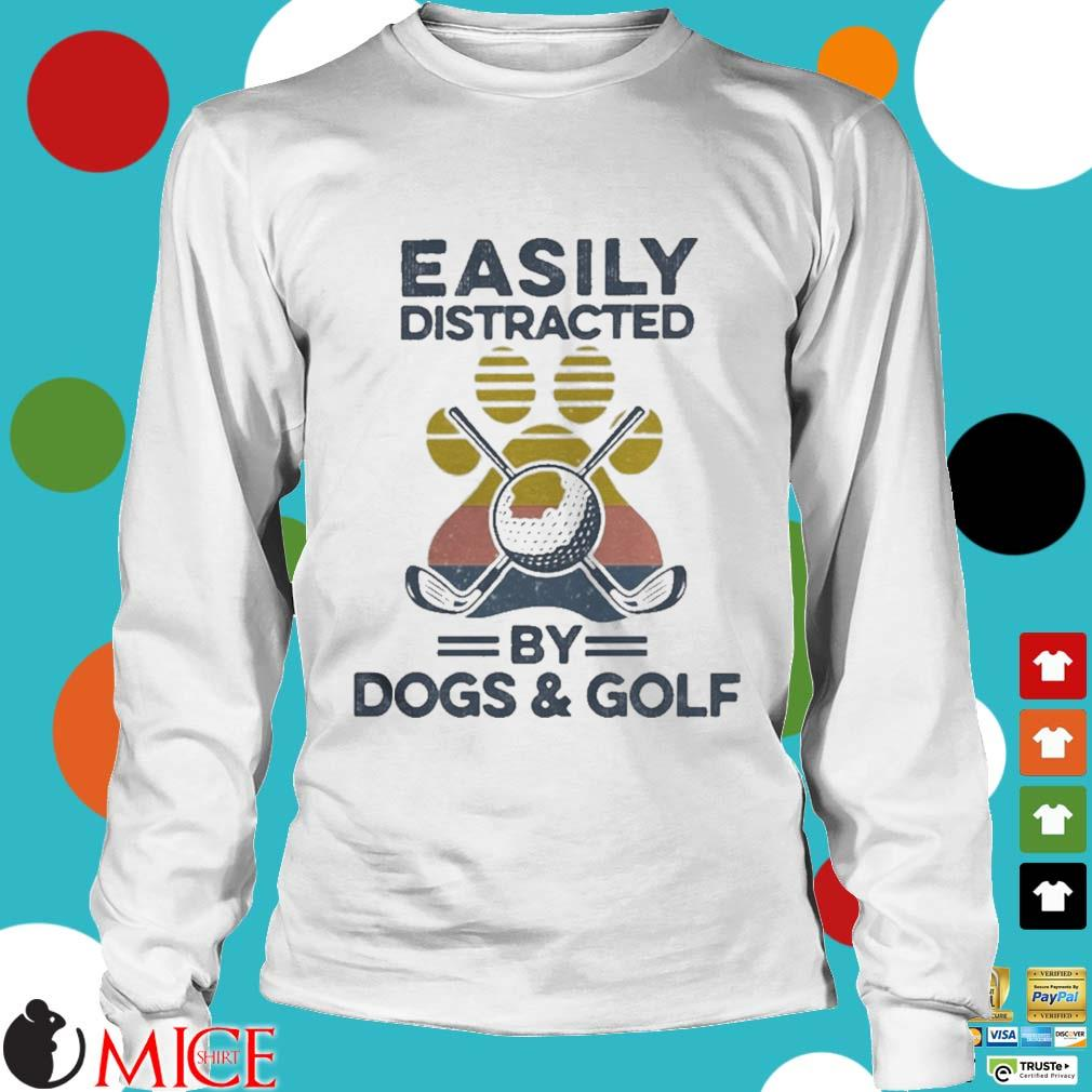 Easily Distracted By Dogs And Golf Footprint Vintage Shirt t Longsleeve
