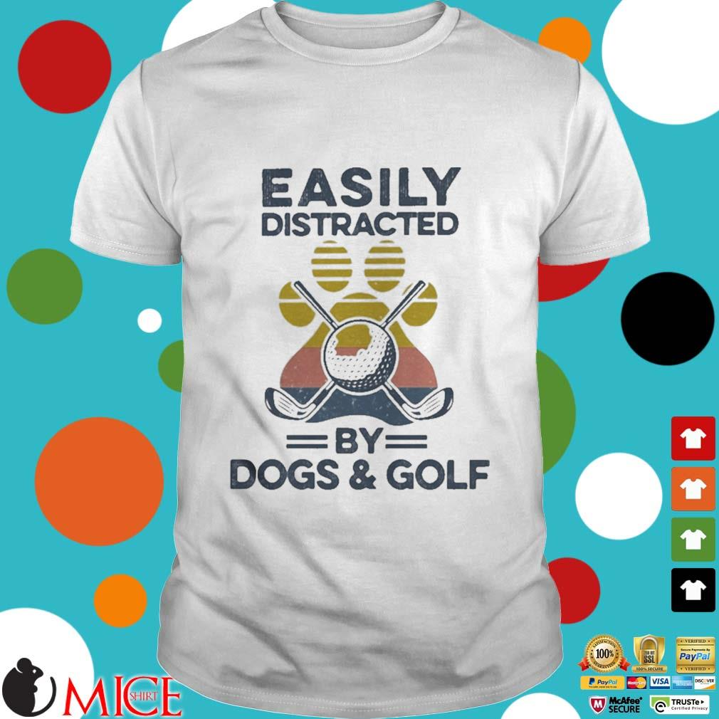 Easily Distracted By Dogs And Golf Footprint Vintage Shirt