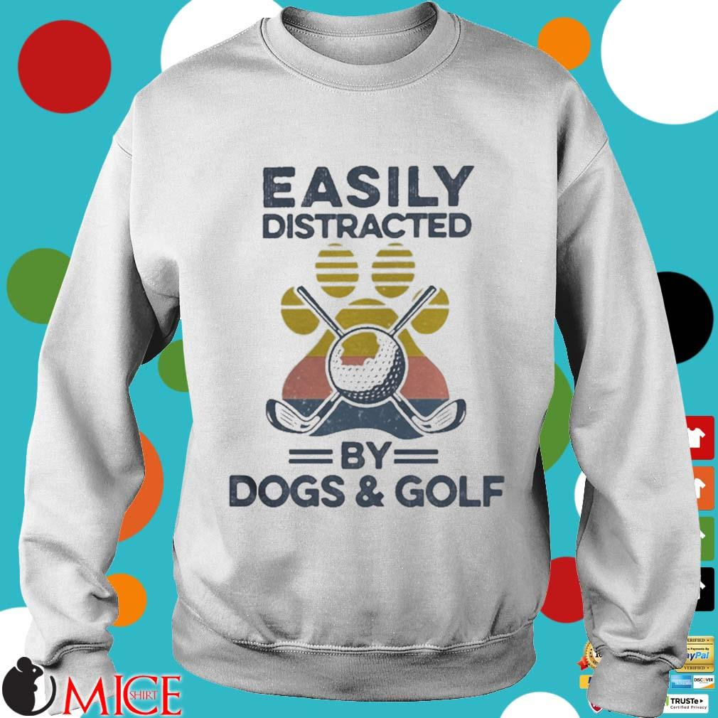 Easily Distracted By Dogs And Golf Footprint Vintage Shirt t Sweater