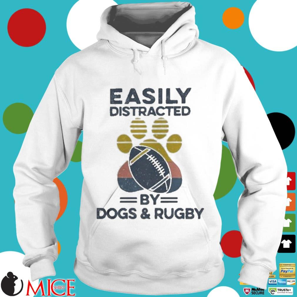 Easily Distracted By Dogs And Rugby Footprint Vintage Shirt t Hoodie