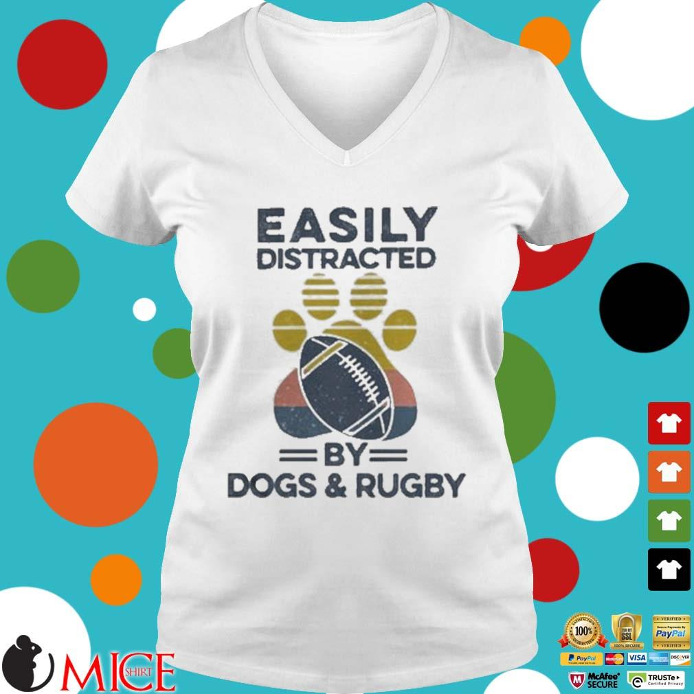 Easily Distracted By Dogs And Rugby Footprint Vintage Shirt t Ladies V-Neck