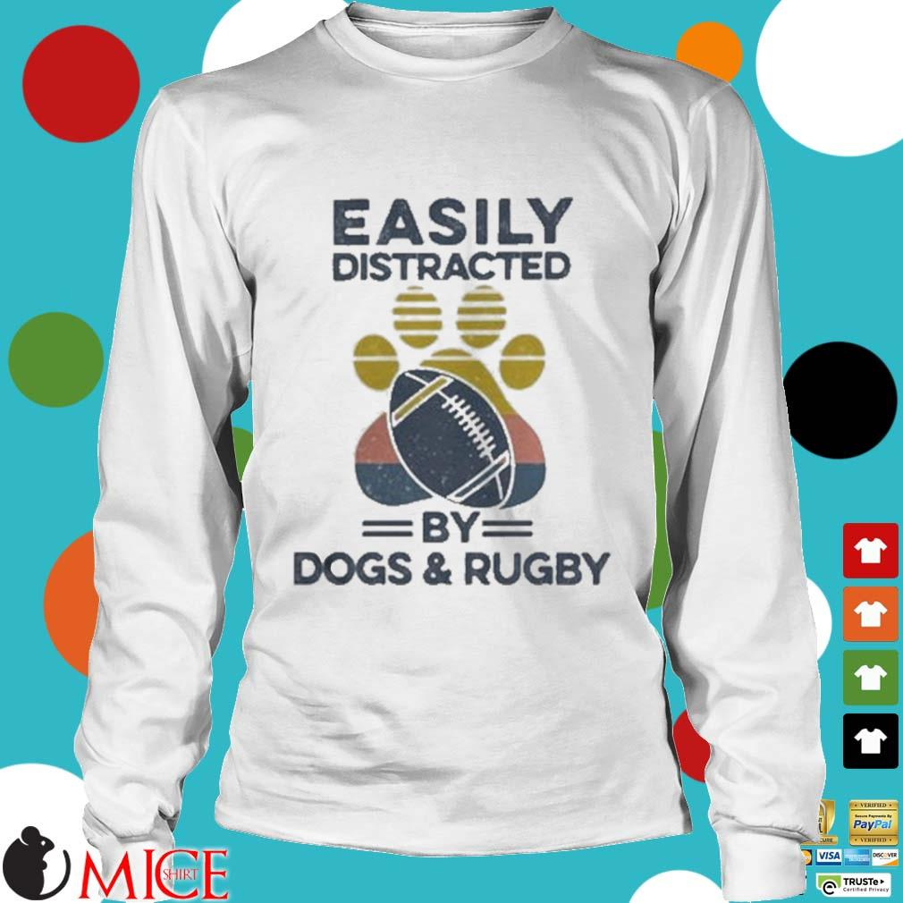 Easily Distracted By Dogs And Rugby Footprint Vintage Shirt t Longsleeve