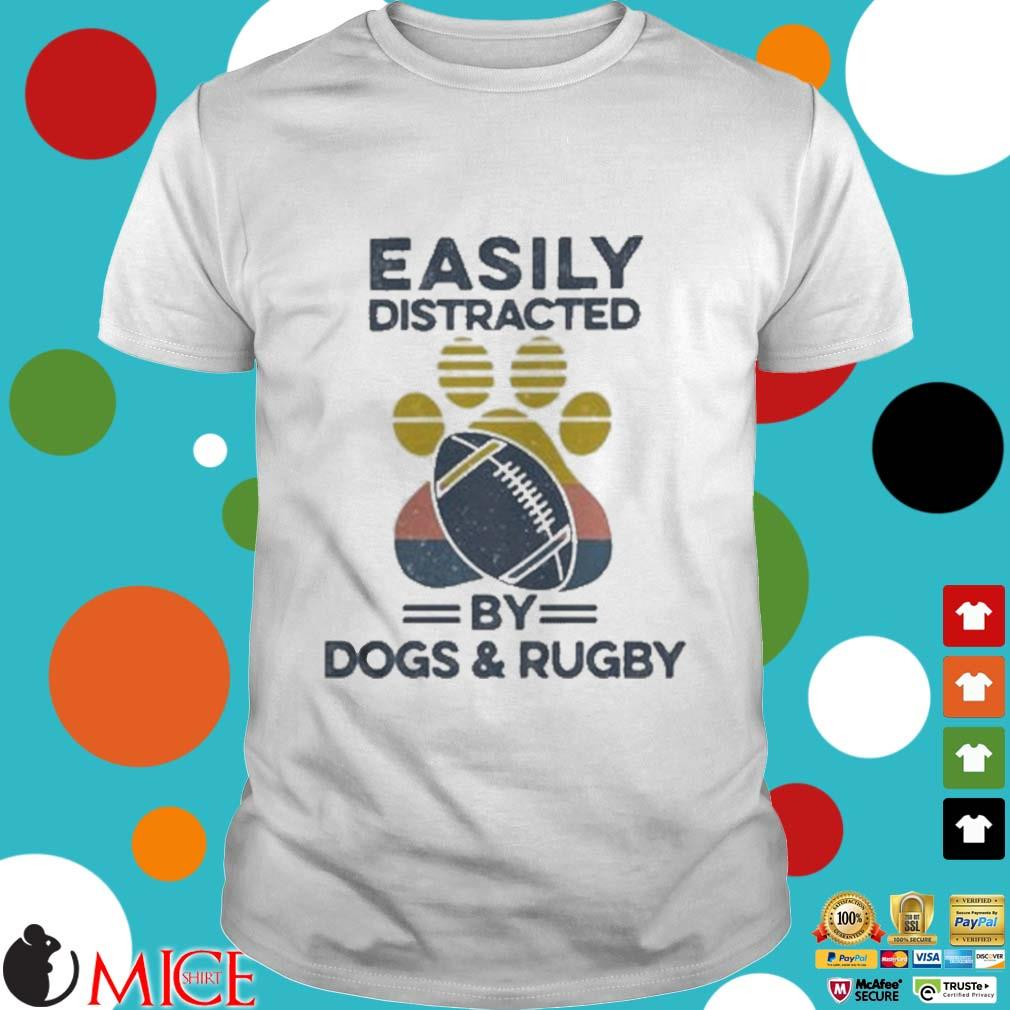 Easily Distracted By Dogs And Rugby Footprint Vintage Shirt