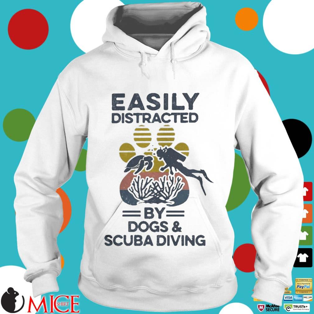 Easily Distracted By Dogs And Scuba Diving Footprint Vintage Shirt t Hoodie