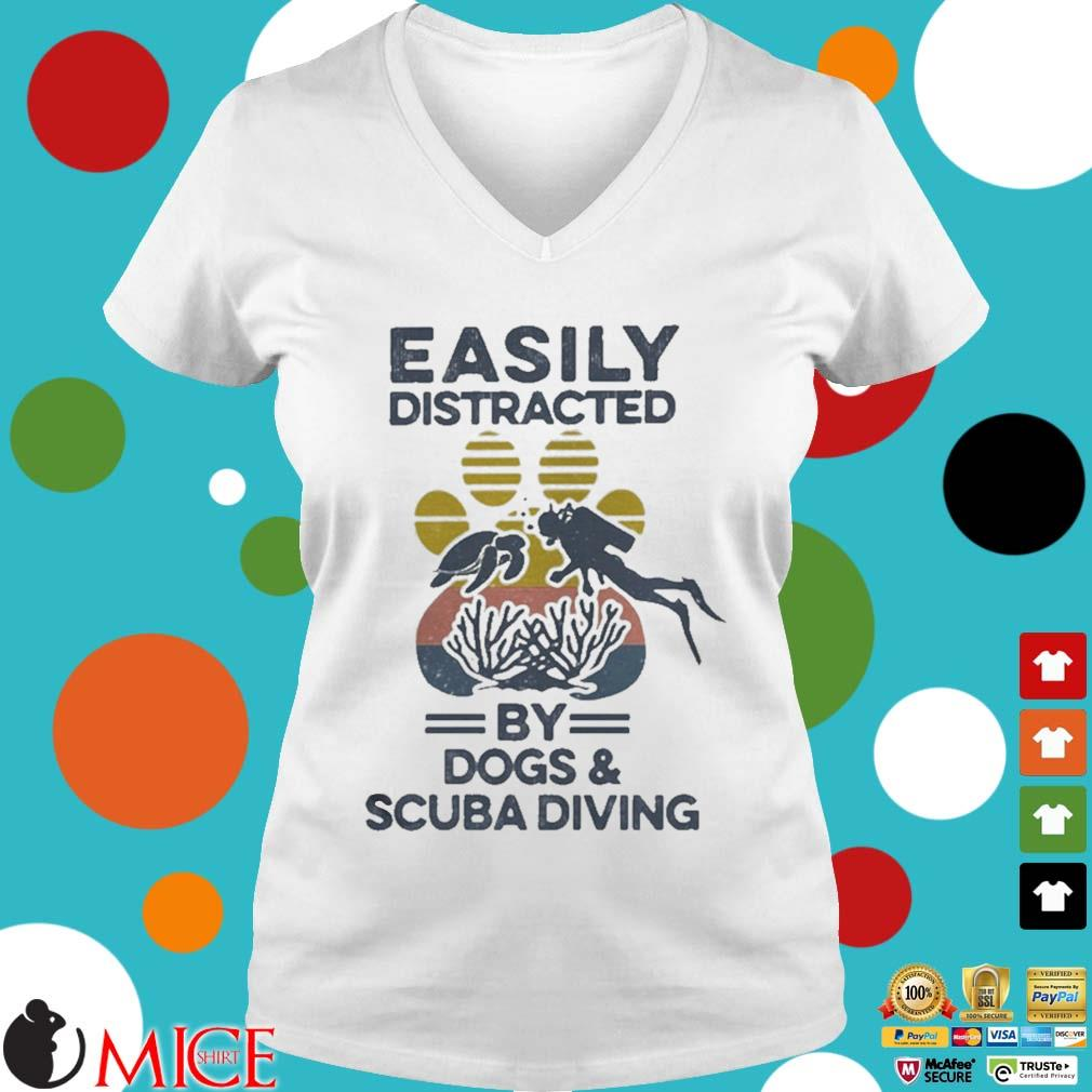 Easily Distracted By Dogs And Scuba Diving Footprint Vintage Shirt t Ladies V-Neck