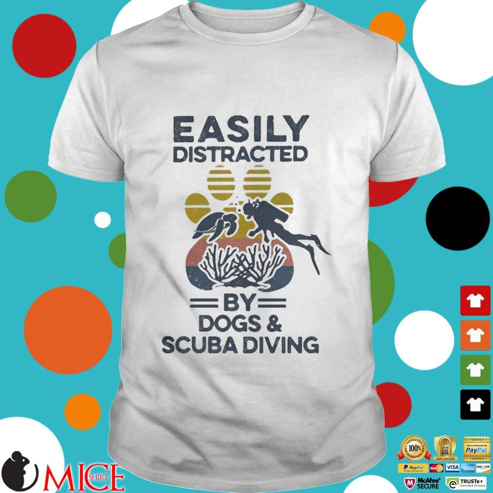 Easily Distracted By Dogs And Scuba Diving Footprint Vintage Shirt