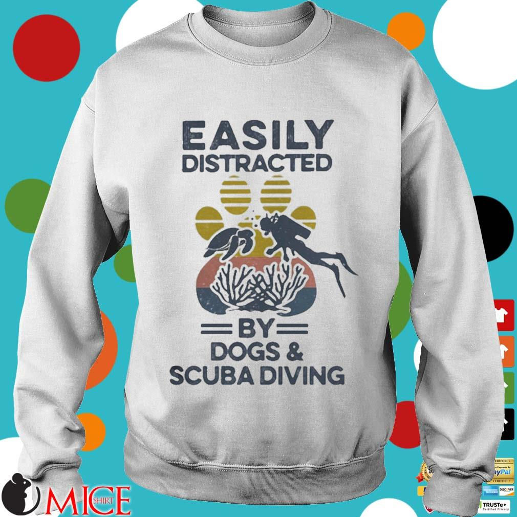 Easily Distracted By Dogs And Scuba Diving Footprint Vintage Shirt t Sweater