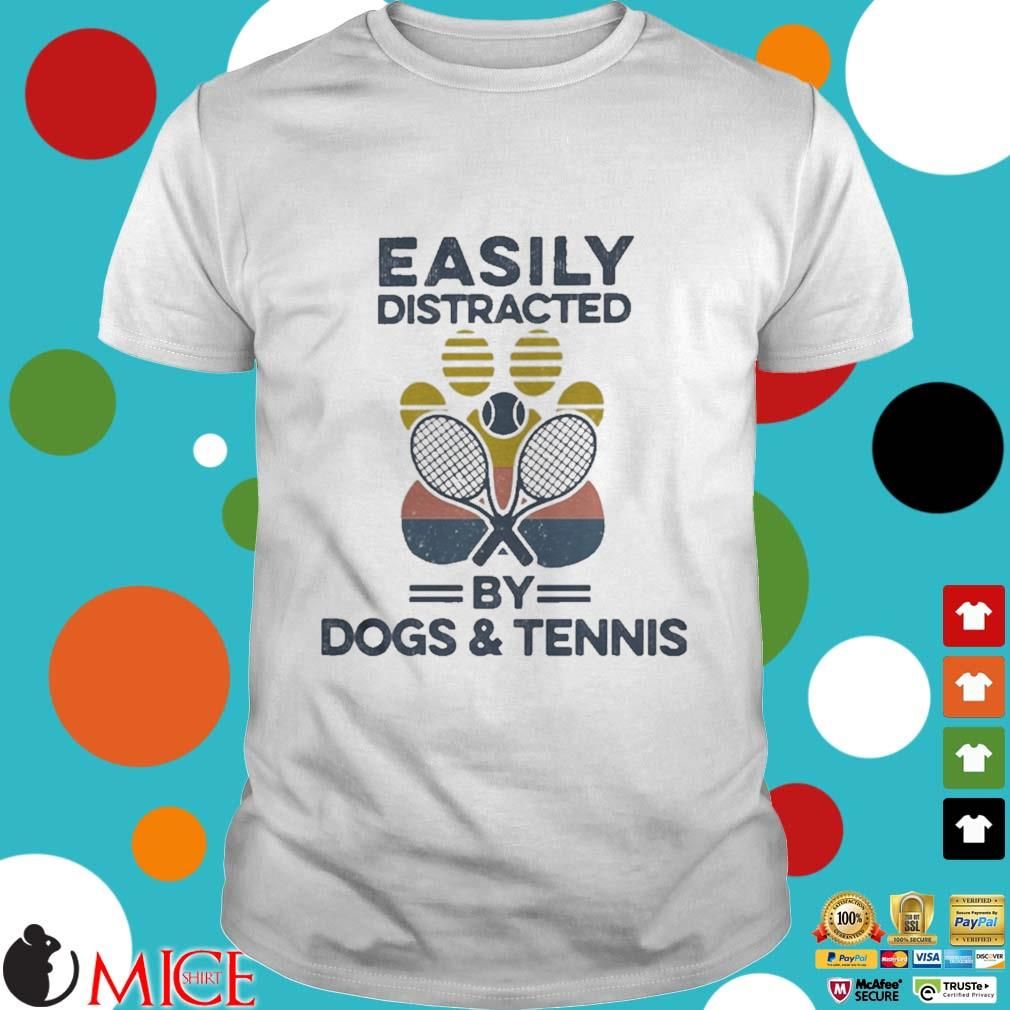 Easily Distracted By Dogs And Tennis Footprint Vintage Shirt