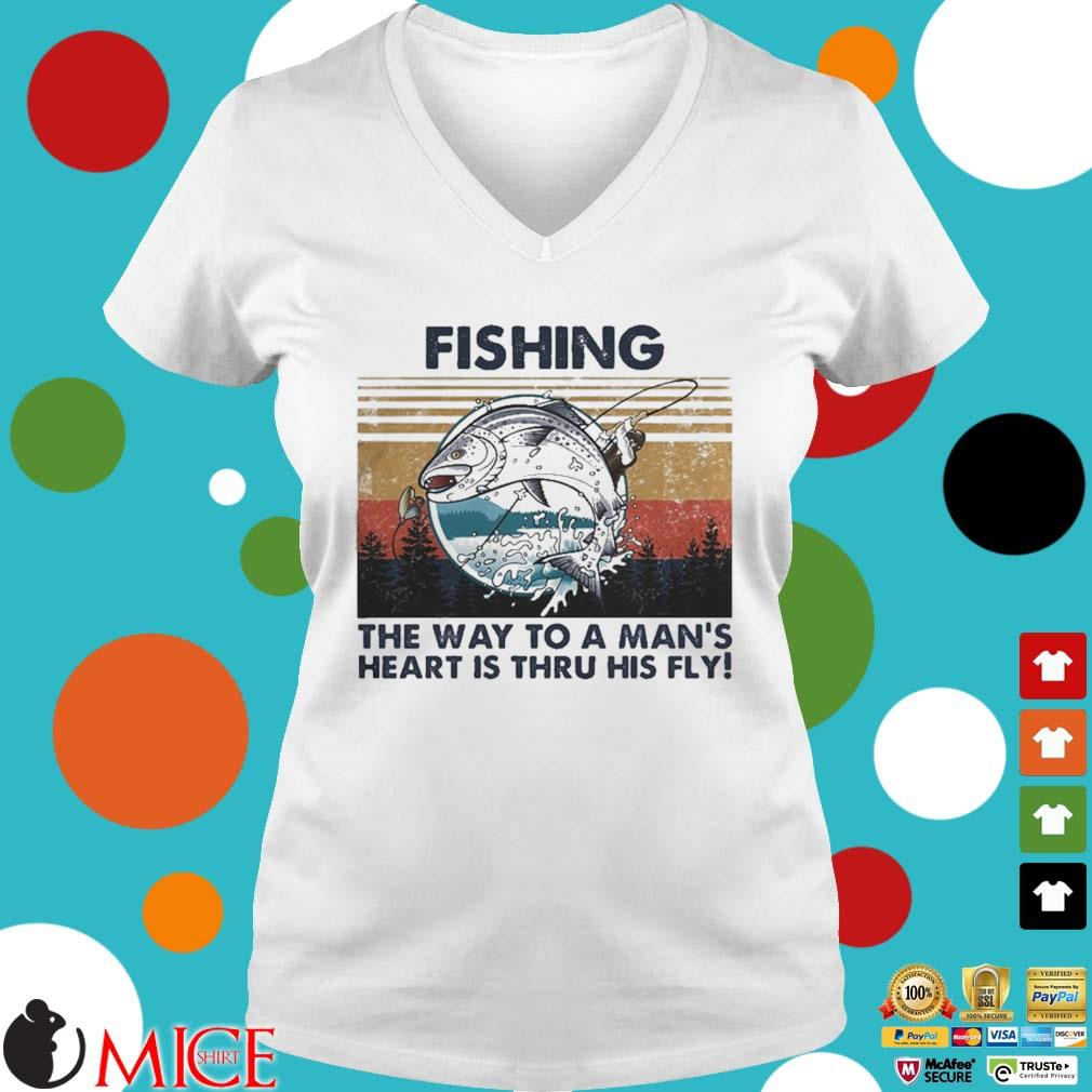 Fishing the way to a mans heart is thru his fly vintage s t Ladies V-Neck