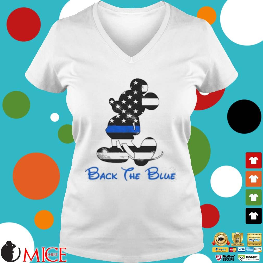 Mickey Mouse Back The Blue American Flag Shirt t Ladies V-Neck