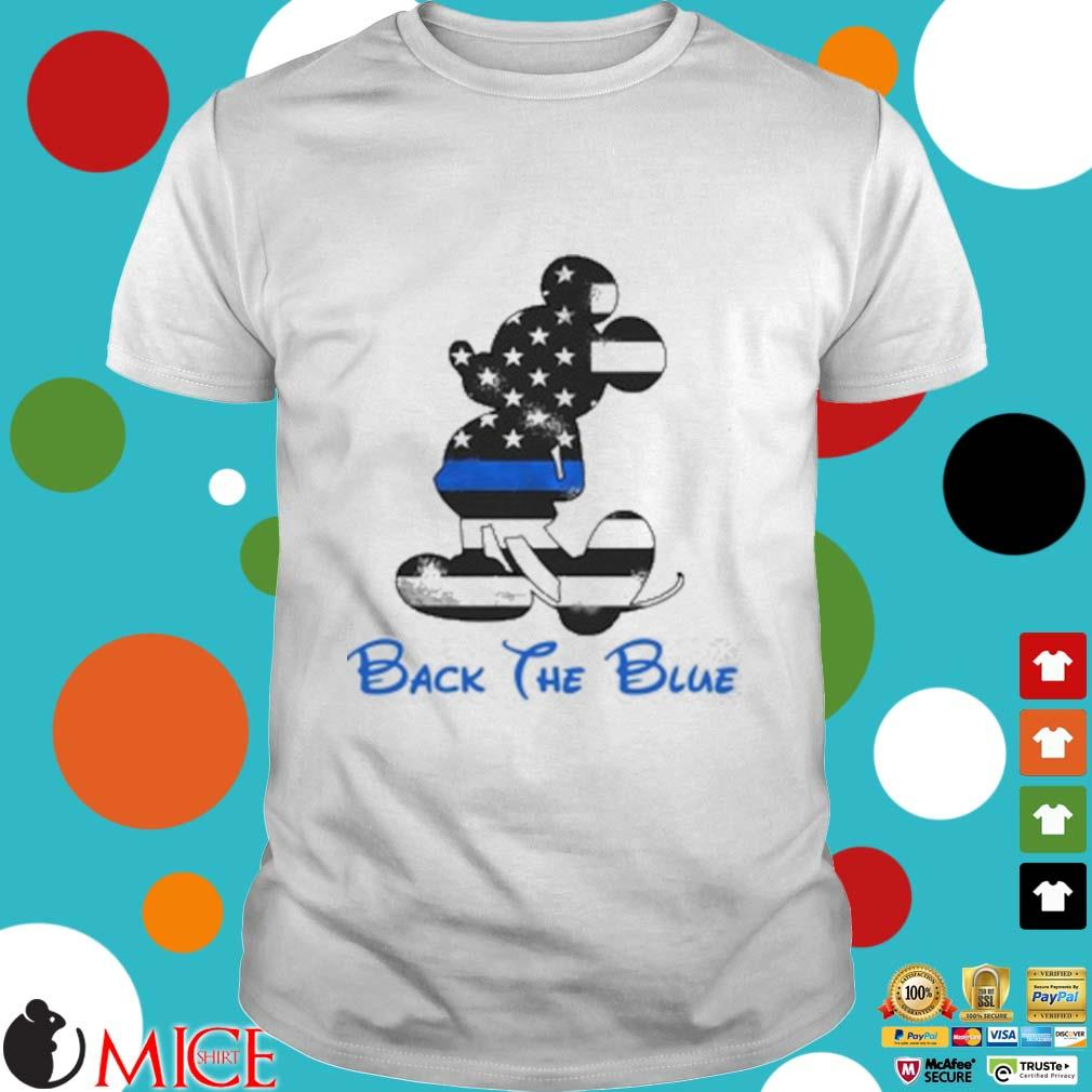 Mickey Mouse Back The Blue American Flag Shirt