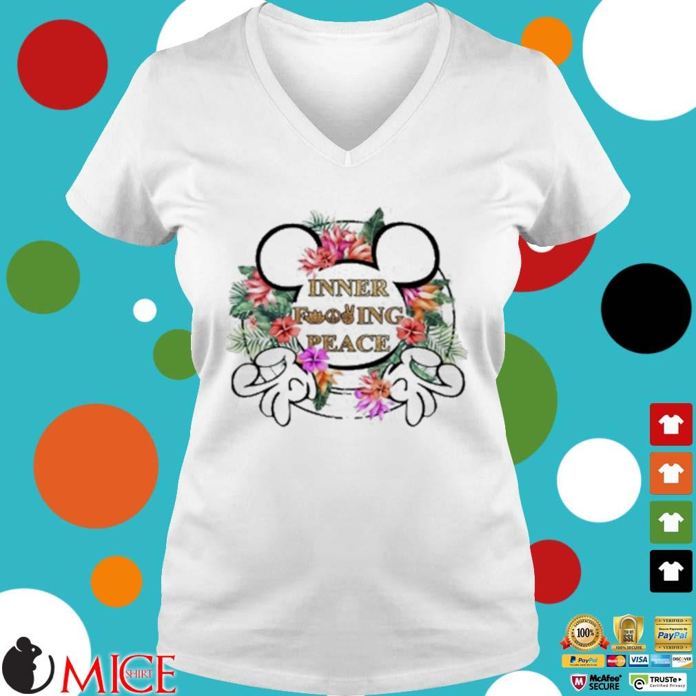 Mickey Mouse Inner Fucking Peace Flowers Shirt t Ladies V-Neck