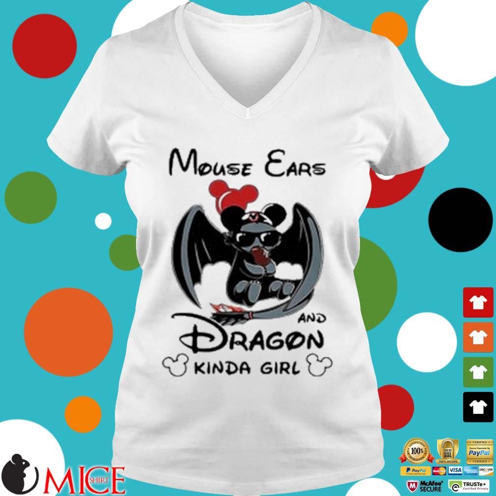 Mouse Ears And Dragon Kinda Girl Shirt t Ladies V-Neck