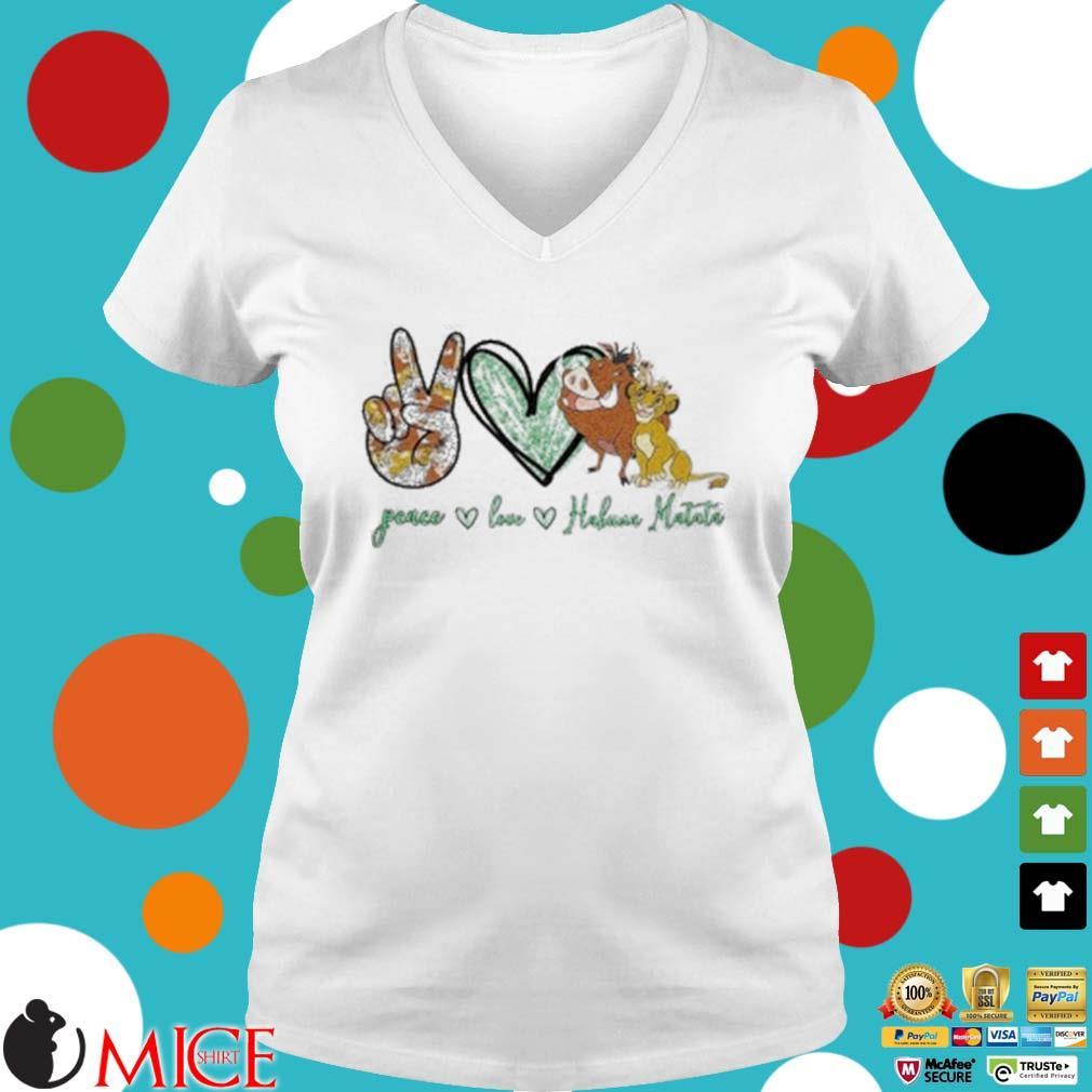 Peace Love Hakuna Matata Shirt t Ladies V-Neck