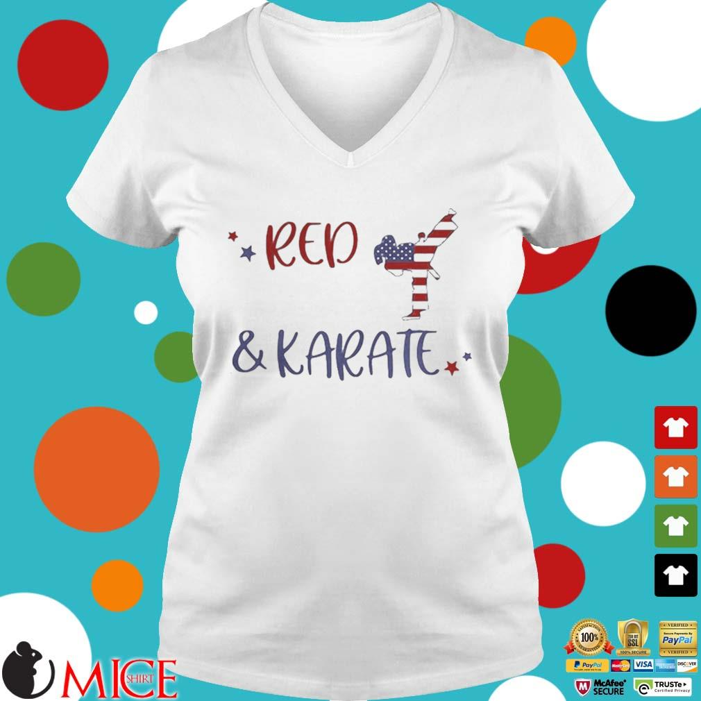 Red And Karate American Flag Independence Day Shirt t Ladies V-Neck