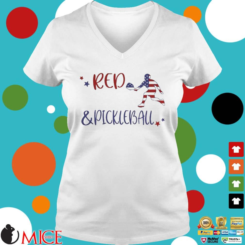 Red And Pickleball American Flag Independence Day Shirt t Ladies V-Neck