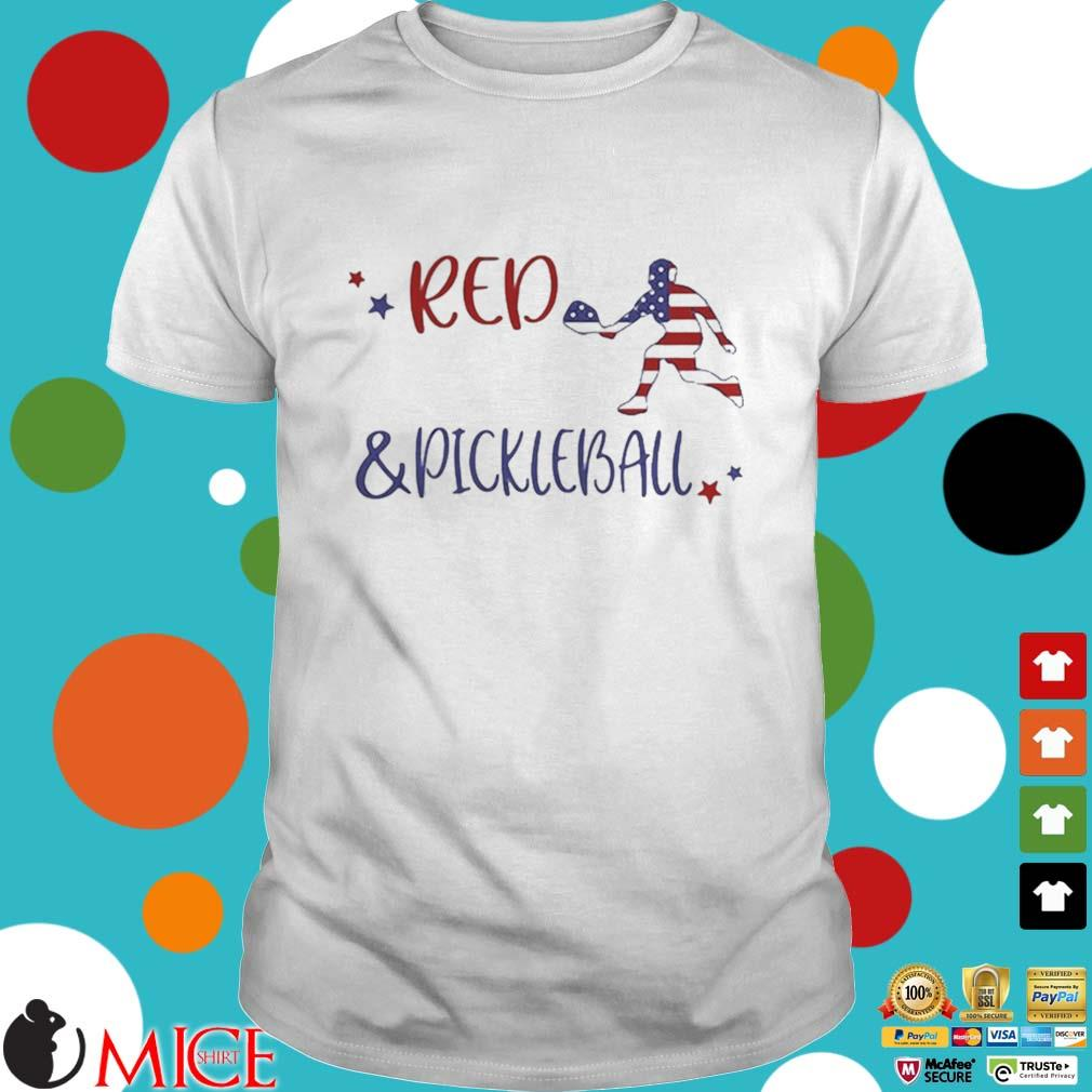 Red And Pickleball American Flag Independence Day Shirt