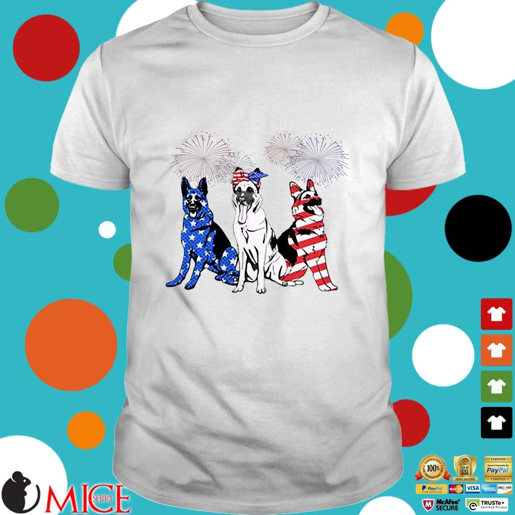 Shepherd Dog Fireworks American Flag Independence Day Shirt