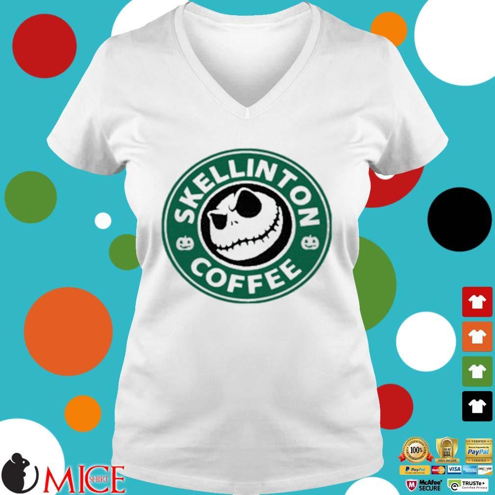 Skellington Coffee Shirt t Ladies V-Neck