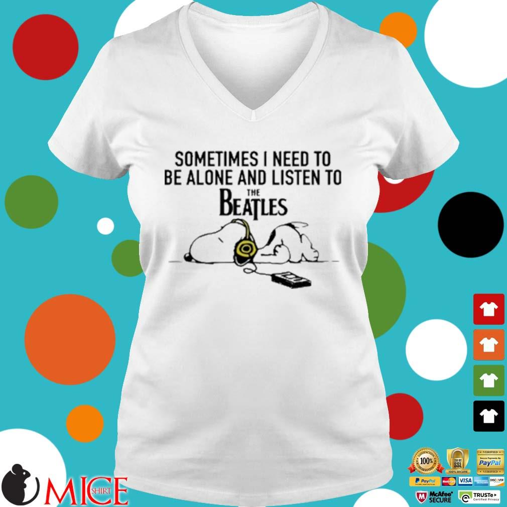 Snoopy Under Autumn Tree Sometimes I Need To Be Alone And Listen To The Beatles Shirt t Ladies V-Neck