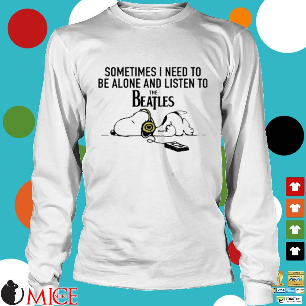 Snoopy Under Autumn Tree Sometimes I Need To Be Alone And Listen To The Beatles Shirt t Longsleeve