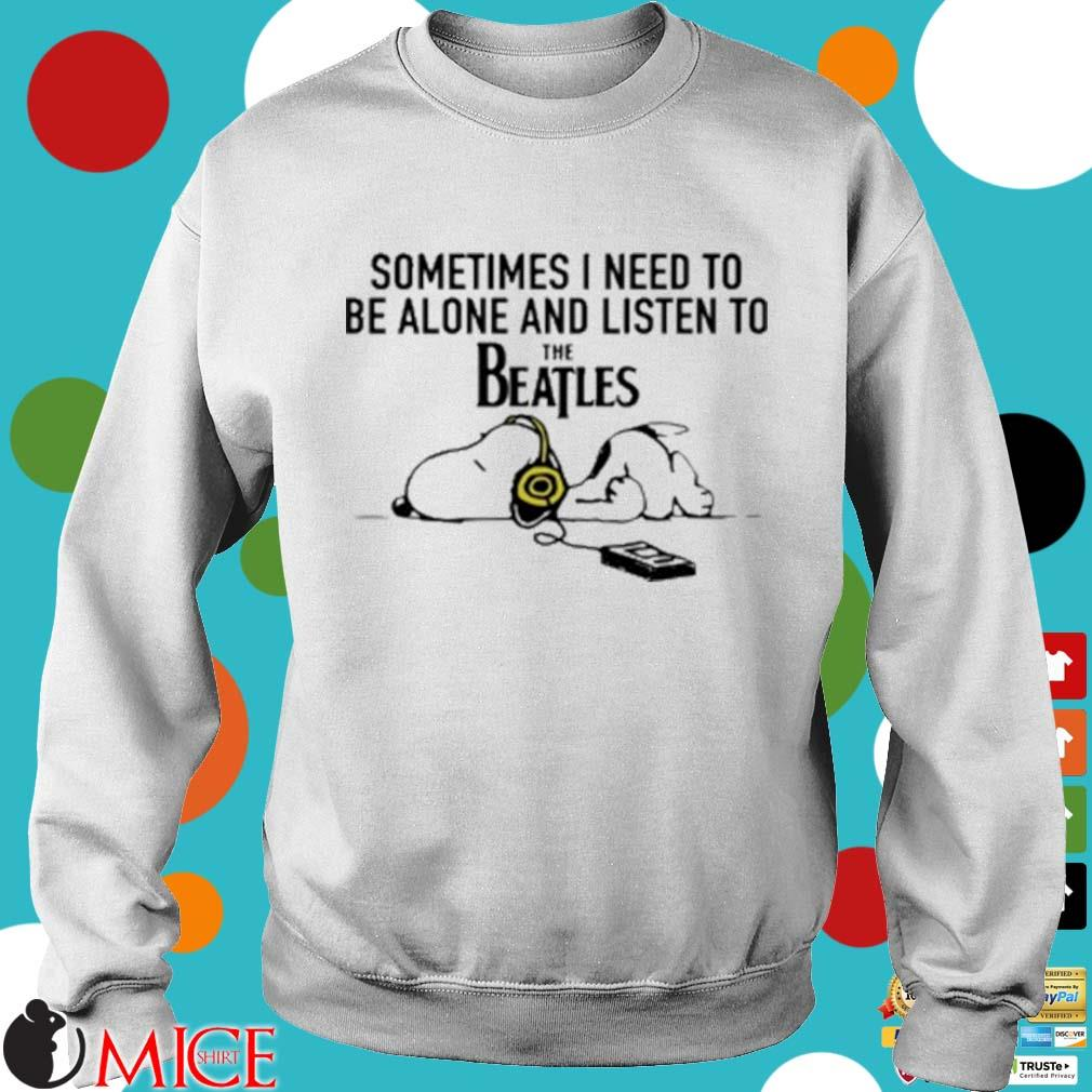 Snoopy Under Autumn Tree Sometimes I Need To Be Alone And Listen To The Beatles Shirt t Sweater