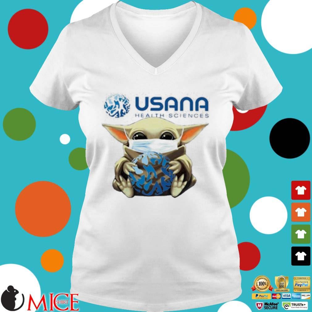 Star Wars Baby Yoda Mask Hug Usana Health Sciences Shirt t Ladies V-Neck