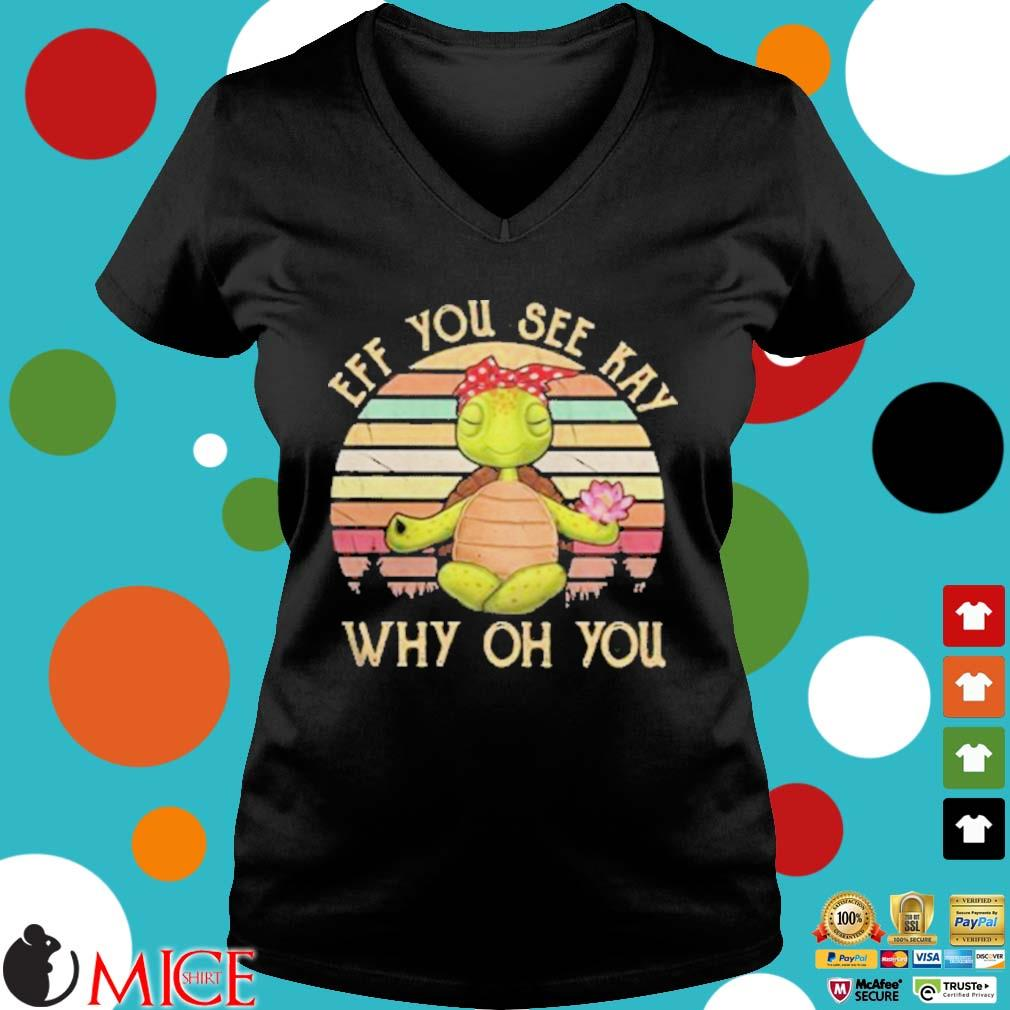 Turtle eff you see kay why oh you vintage retro s d Ladies V-Neck