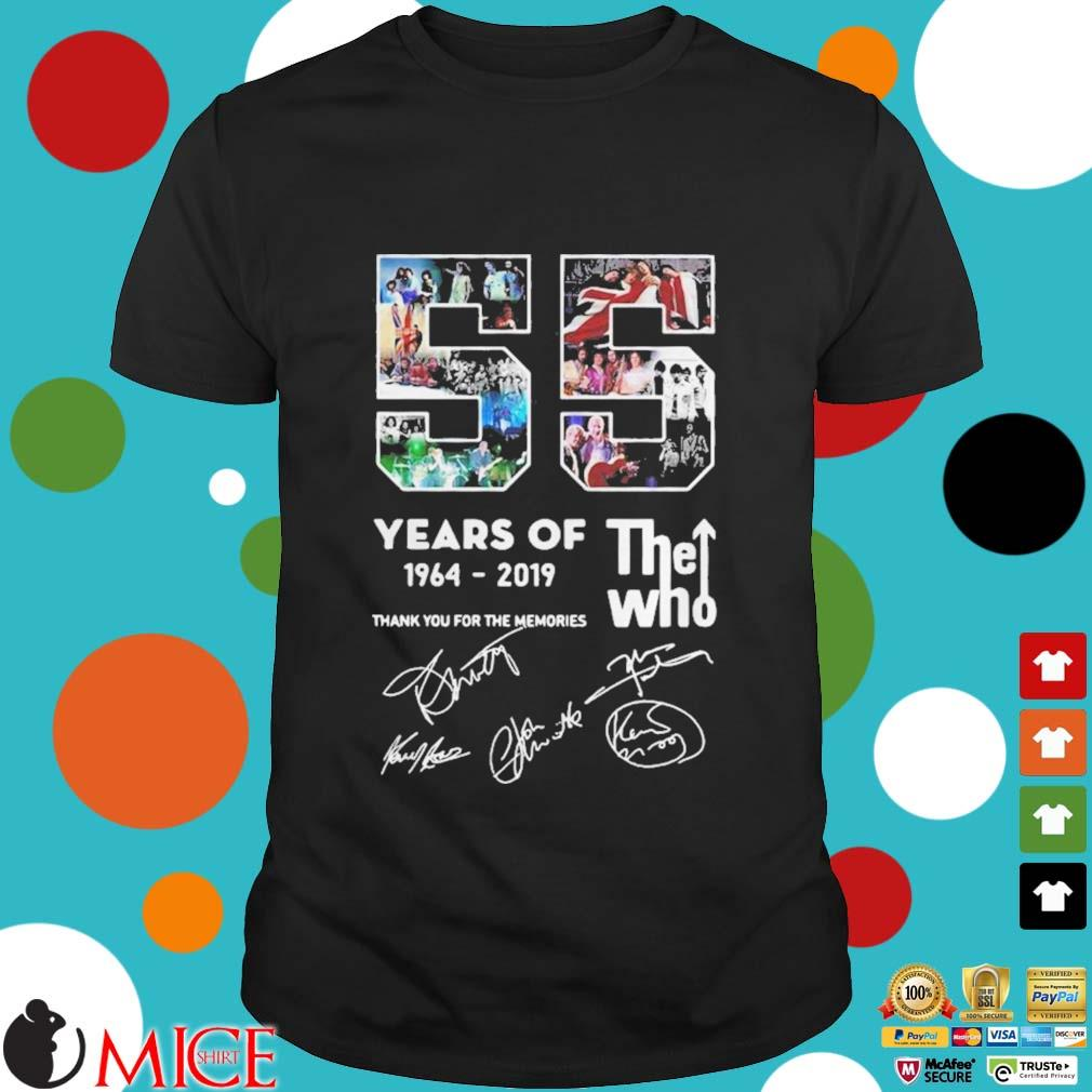 Years Of The Who 1964 2019 Thank You For The Memories Signatures Shirt