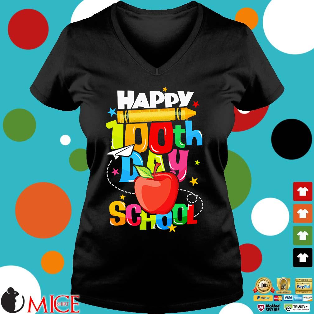 100th Day Of School s Ladies V-Neck den