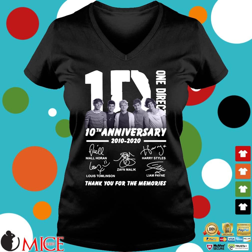 1D One Direction 10th anniversary 2010 2020 signatures thank you for the memories s Ladies V-Neck den