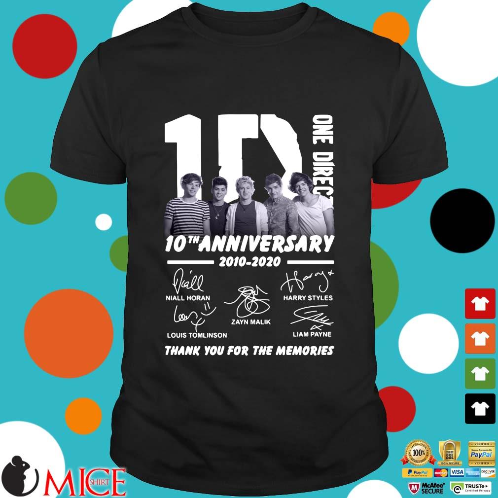 1D One Direction 10th anniversary 2010 2020 signatures thank you for the memories shirt
