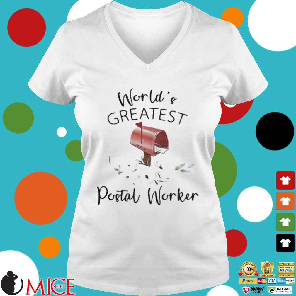 World's Greatest Postal Worker Mailbox Shirt t Ladies V-Neck