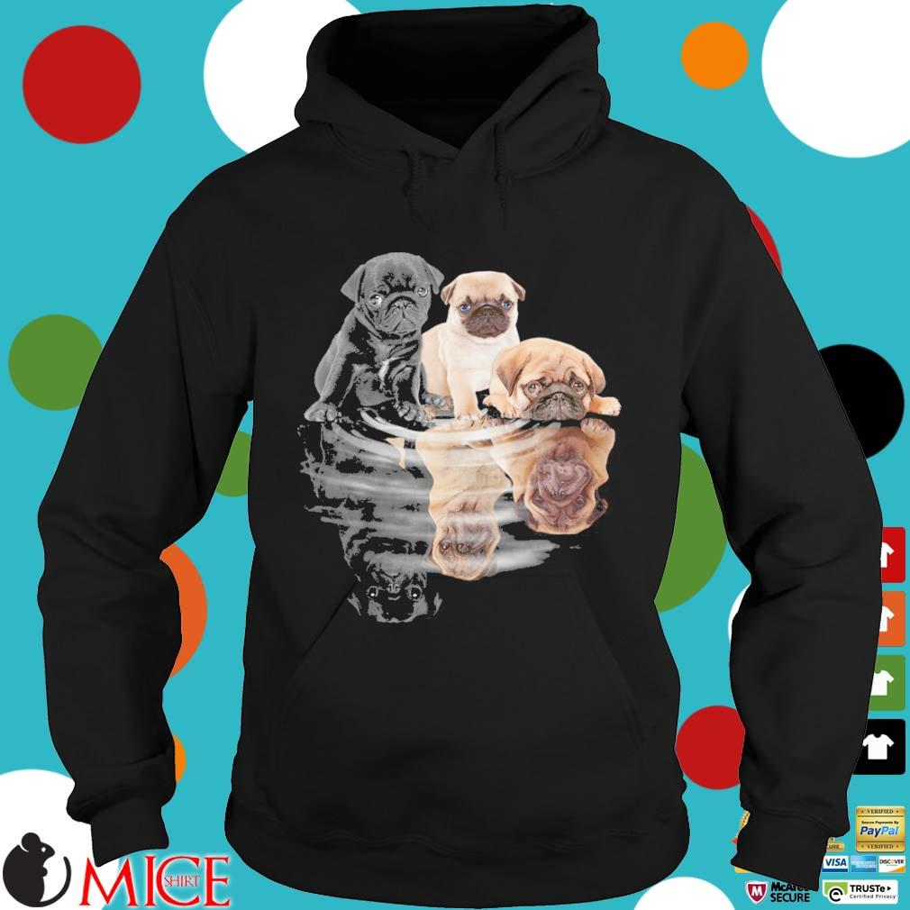 Pug dogs mirror water reflection s Hoodie dend