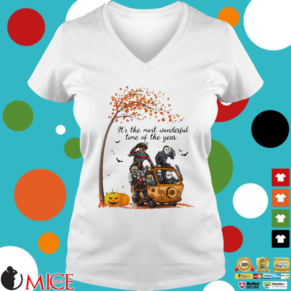 Horror character pumpkin It's the most wonderful time of the year Halloween s Ladies V-Neck trangs
