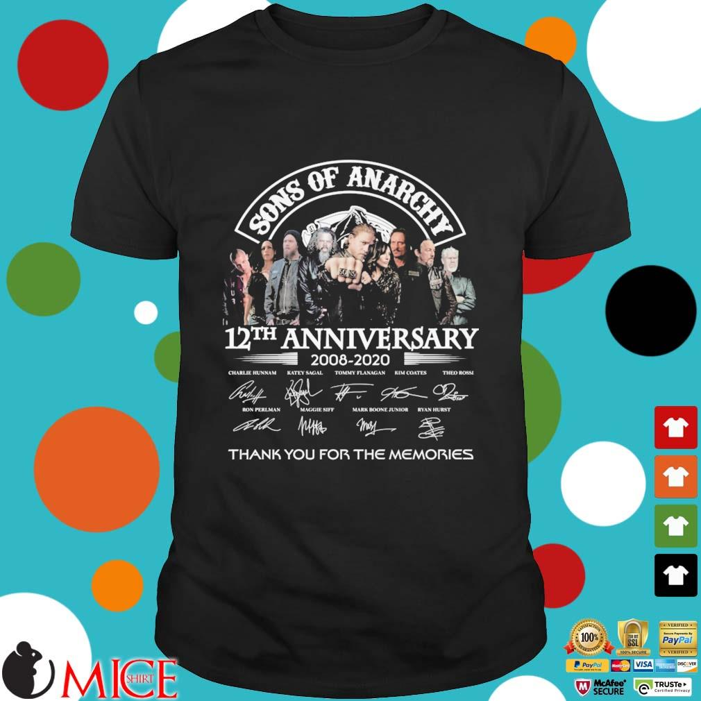 Sons Of Anarchy 12th anniversary 2008-2020 thank you for the memories signatures shirt