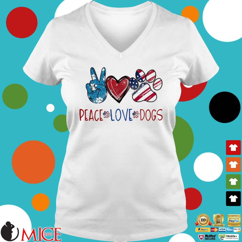 Peace Love Dogs American flag Diamond s Ladies V-Neck trangs