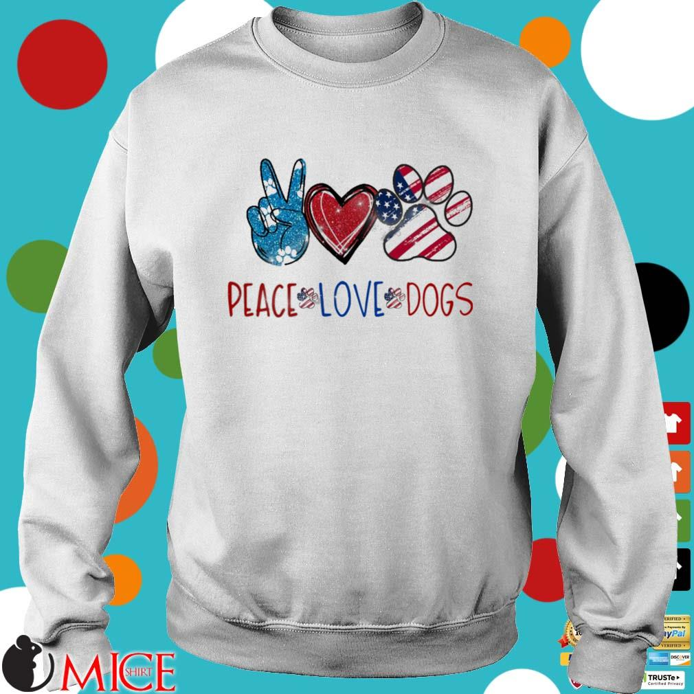 Peace Love Dogs American flag Diamond s Sweater trang