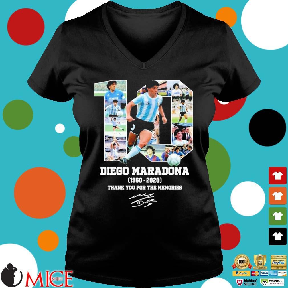 10 Diego Maradona 1960-2020 thank you for the memories signature s Ladies V-Neck den