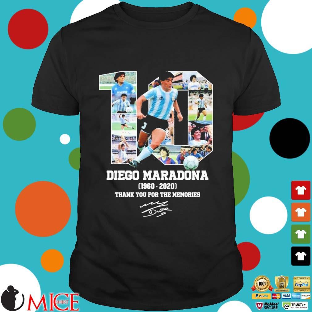 10 Diego Maradona 1960-2020 thank you for the memories signature s Shirt đen