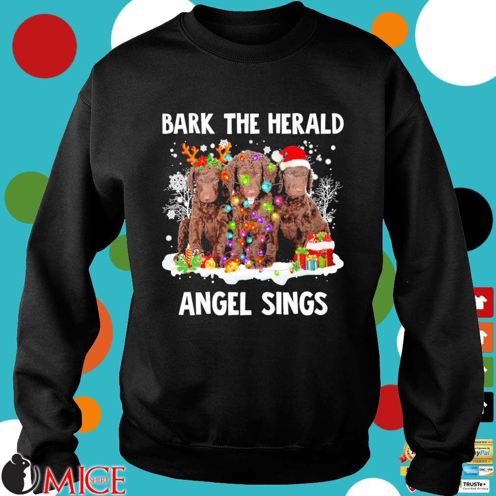 Curly Coated Retriever dog bark the herald Angel sings Merry Christmas sweater