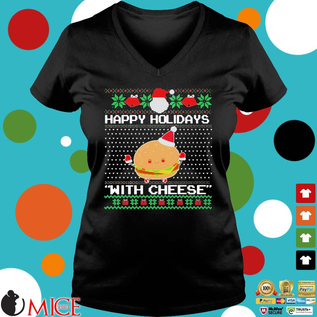 Happy Holidays With Cheese Ugly Christmas Sweater Ladies V-Neck den