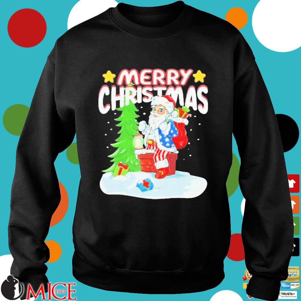 Patriotic American Flag Santa Claus Chimney Christmas Sweater