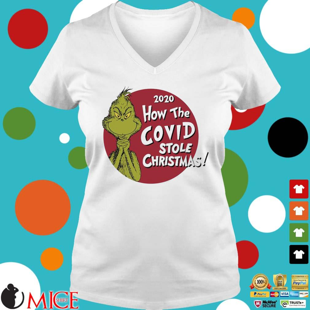 The Grinch 2020 how the Covid stole Christmas sweater Ladies V-Neck trangs